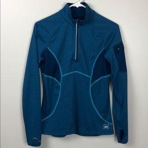 REI Quarter Zip Pullover Outerwear Blue Zip Pocket
